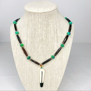 Native American Feather Bead & Turquoise Stone